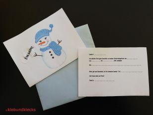 Einladung zur Schneeparty mit gezeichnetem Schneemann