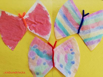 Schmetterlinge aus Kaffeefilter und Pfeifenputzer