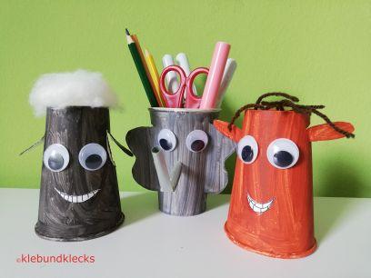 Papptiere aus Pappbechern