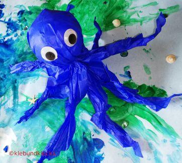 selbstgebastetste Meerestiere: Oktopus aus Seidenpapier