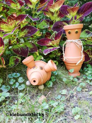 Topfwichtel und Schwein aus Blumentöpfen