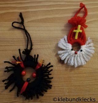 Krampus und Nikolaus aus Wolle und Ringen