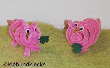 Glücksbringer Schweine aus Pfeifenputzern