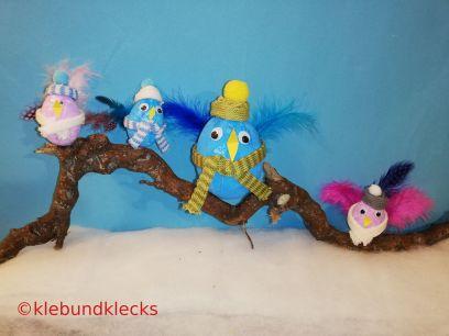 Wintervögel aus Styroporeiern