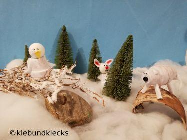 Schneetiere aus Tontöpfen