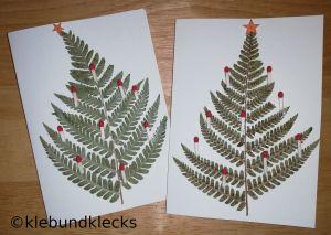 Weihnachtskarte mit Farnblättern