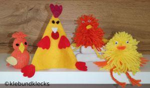 selbstgebastelte Hühner